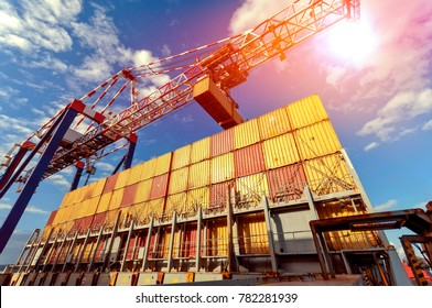 Logistics in harbour terminal - loading and unloading cargo containers