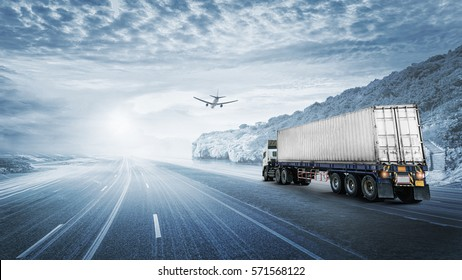 Logistics import export background and transport industry of Container truck on the road