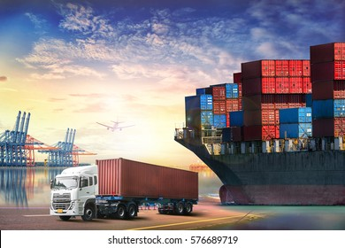 Logistics import export background and transport industry of Container truck and Cargo ship with working crane bridge in shipyard at sunset sky