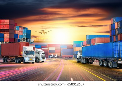 Logistics import export background and transport industry of Container Cargo freight ship and Cargo plane at sunset sky