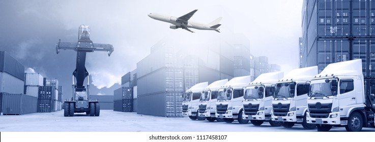 Logistics industry background with truck fleet, container depot and Air freight service.