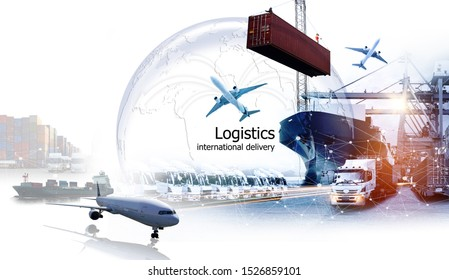 Logistics international delivery concept, World map with logistic network distribution on background.background for Concept of fast or instant shipping, Online goods orders worldwide