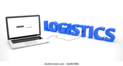 Logistics - laptop notebook computer connected to a word on white background. 3d render illustration.