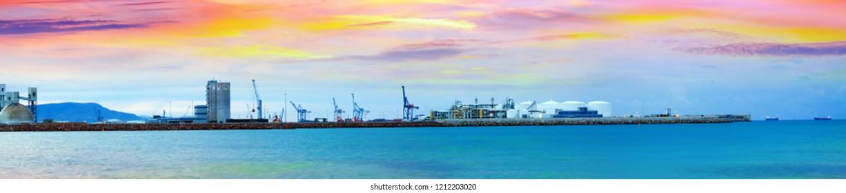 logistics port  in  Castellon de la Plana in dawn, Valencian Community, Spain
