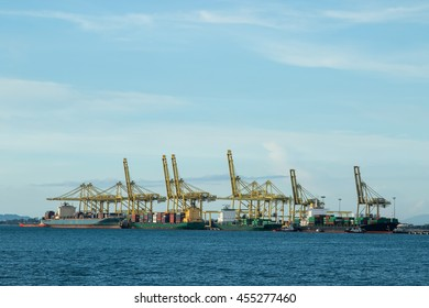 Logistics ship port cargo for transportation and delivery products to customer with blue sky.