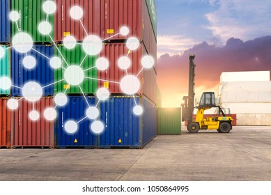 Logistics shipping network connection concept.