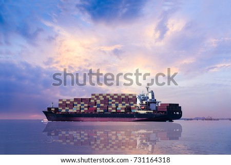 Logistics Transport International Container Cargo Ship Stock