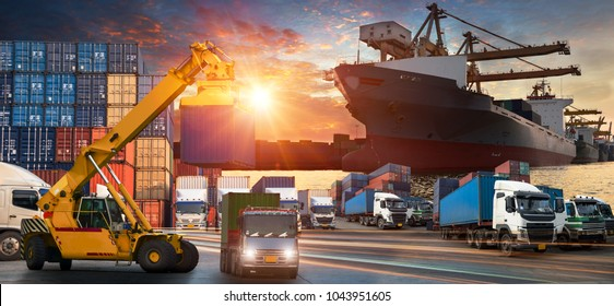 Logistics and transportation of Container Cargo ship and Cargo plane with working crane bridge in shipyard at sunrise, Shipping cargo to harbor Aerial view from drone, International transportation