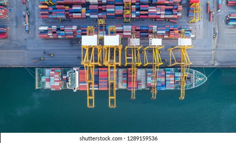 Logistics and transportation of Container Cargo ship and Cargo plane with working crane bridge in shipyard at sunrise, logistic import export and transport industry background, Aerial view from drone