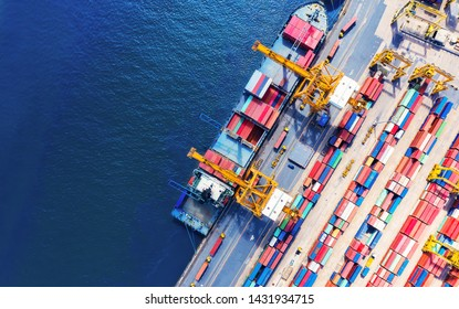 Logistics and transportation of Container Cargo ship and Cargo import/export and business logistics, Shipping , Top view ,Aerial view from drone