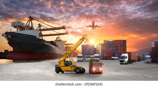Logistics and transportation of Container Cargo ship and Cargo plane with working crane bridge in shipyard at sunrise, logistic import export and transport industry background - Shutterstock ID 1923691541