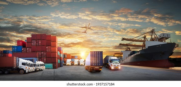 Logistics and transportation of Container Cargo ship and Cargo plane with working crane bridge in shipyard at sunrise, logistic import export and transport industry background - Shutterstock ID 1937157184