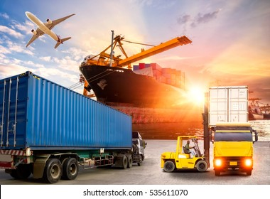 Logistics and transportation of Container Cargo ship and Cargo plane with working crane bridge in shipyard at twilight, logistic import export and transport industry background concept