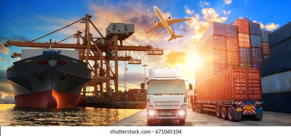 Logistics and transportation of Container Cargo ship and Cargo plane with working crane bridge in shipyard at sunrise, logistic import export and transport industry background