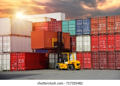 Logistics and transportation of Container Cargo ship and Cargo plane with working crane bridge in shipyard at sunset, logistic import export and transport industry background