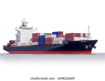 Logistics and Transportation of international Container Cargo ship isolated on white background