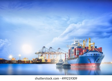 Logistics and transportation of International Container Cargo ship with ports crane bridge in harbor for logistics import export background and transportation industry.
