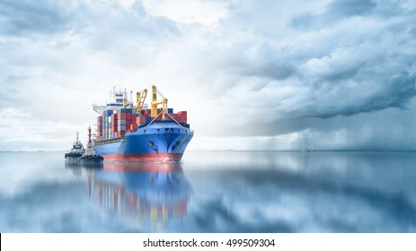 Logistics and transportation of International Container Cargo ship with tugboat in the ocean, Freight Transportation, Shipping