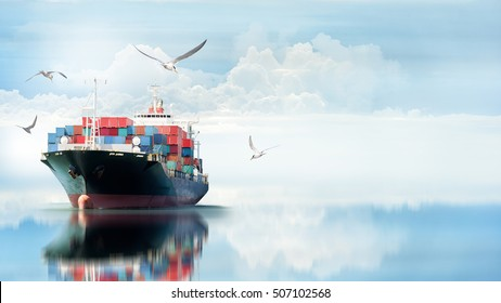Logistics and transportation of International Container Cargo ship in the ocean with Group of Birds , Freight Transportation, Shipping