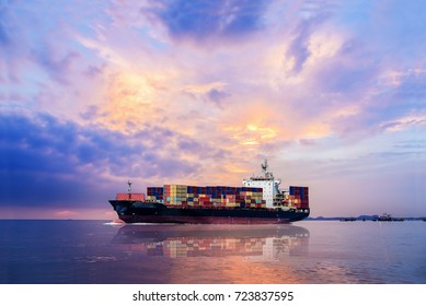 Logistics and Transportation of international Container Cargo ship and Cargo plane in the sea on sunset sky background