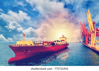 Logistics and transportation of International Container Cargo ship with ports crane bridge in harbor for logistic import export background and transport industry. Vintage color.