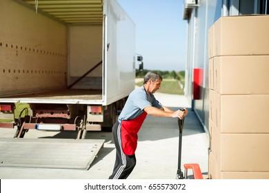 Logistics worker carrying delivered goods