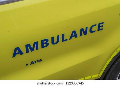 Logo Of An Ambulance Car At Amsterdam The Netherlands 2018