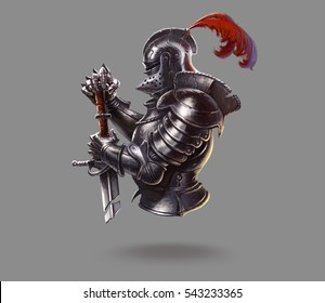 Logo dark era of the knight on a gray background