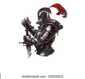 Logo dark era of the knight on a white background