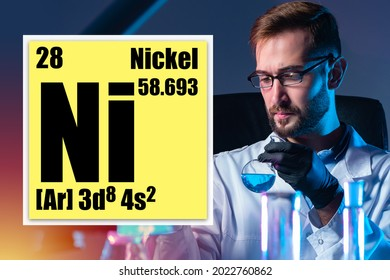 Logo element nickel from periodic table. NI element next to chemist. Laboratory assistant with test tubes in background. He studies properties of metal nickel. Ñoncept - use of nickel in production.