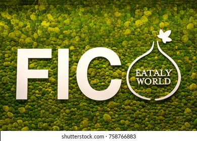 The logo of Fico Eataly World with green moss musk on background - Bologna, Italy, 19 Nov 2017