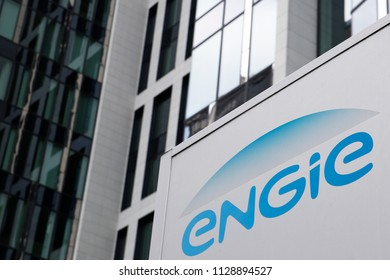 The logo of French gas and power group Engie is seen on the company builidng in Brussels, Belgium on Jul. 7, 2018.