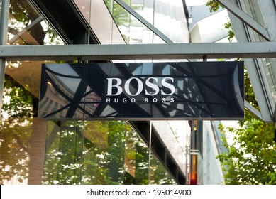 "Logo of Hugo Boss. London, United Kingdom - October 2, 2013: The logo of the clothing company ""Boss"" (Hugo Boss), London."