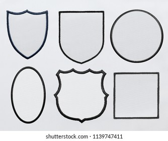 logo patch on white fabric background