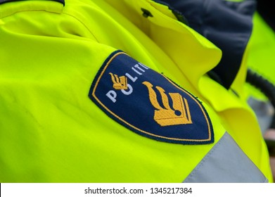Logo Of A Police Uniform At Amsterdam The Netherlands 2019