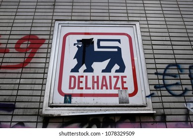 A logo of  supermarket chain Delhaize is seen on a store in the city center of Brussels, Belgium on Apr. 26, 2018