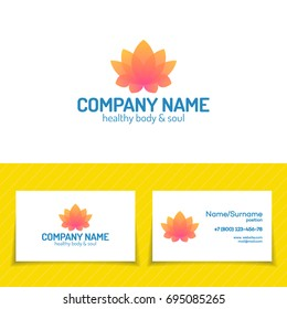 Logo template set consisting of flower lotus for use yoga studio, school, center, meditation class, spa. Health care, sport, fitness logo design elements.