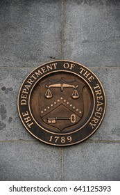 Logo of the U.S. Treasury Department on the Treasury building in Washington, D.C., USA, May 9, 2017