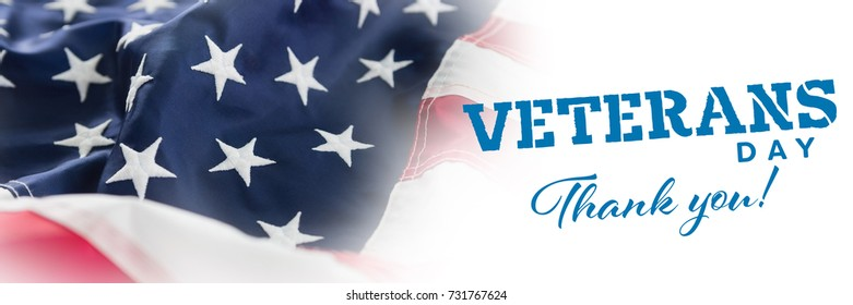 Logo for veterans day in america  against full frame of wrinkled american flag
