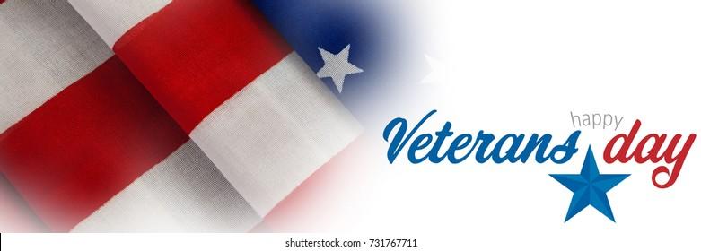 Logo for veterans day in america  against full frame of wrinkled american flag
