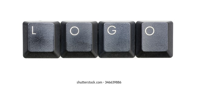 Logo word written with black keyboard buttons.