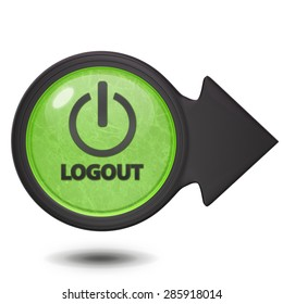 Logout circular icon on white background