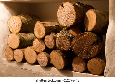 Logs waiting to be burnt