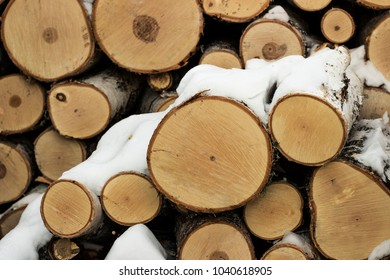 Logs of wood. Background. Close-up.
