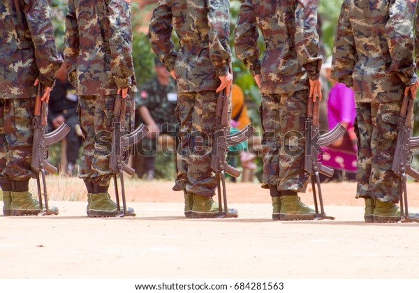 Loi Kaw Wan, Myanmar - May 21: Unidentified Group Of Soldiers In A Training At Boot Camp On May 21, 2017 In Loi Kaw Wan, Myanmar.