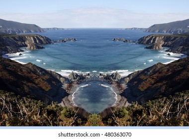 Loiba cliffs geometric composition,geometric abstract and surreal landscape of the coast of Galicia, abstract surreal photography North, Cedeira, La Coruna,Spain, Geology forms,