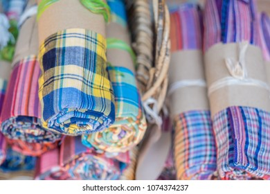 Loincloth fabric, traditional loincloth made from Thailand silk, Plaid Check Fabric loincloth Thai Style.