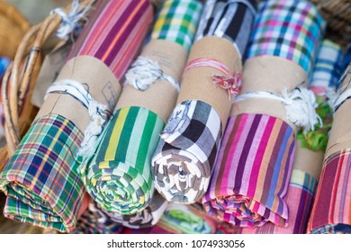 Loincloth fabric, traditional loincloth made from Thailand silk, Plaid Check Fabric loincloth Thai Style.