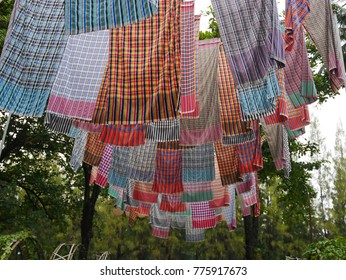loincloth fabric, traditional loincloth made from Thailand silk, Plaid Check Fabric loincloth Thai Style