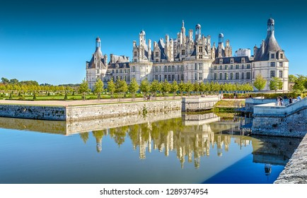 Loir and Cher. France - - September 26, 2018: Chambord Castle - one of the castles of the Loire Valley and one of the most recognizable castles in France, a masterpiece of the Renaissance.